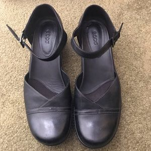 Black Ecco Leather Mules